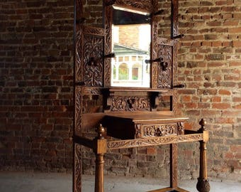 Stunning Antique Heavily Carved 19th Century Victorian Hall Stand
