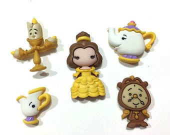 SET Of 5 Shank Beauty and the Beast Shank/Hoop Sewing Buttons/Disney buttons/Sewing buttons/Knitting Buttons/ DIY/Embellishments/Trim