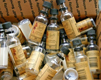 """50 Sailor Jerry Rum Empty Mini Bottles with Lids  50 ML 4.25"""" Tall"""
