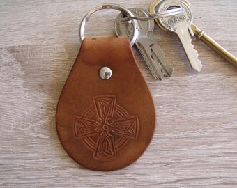 Leather medieval Celtic Cross keychain