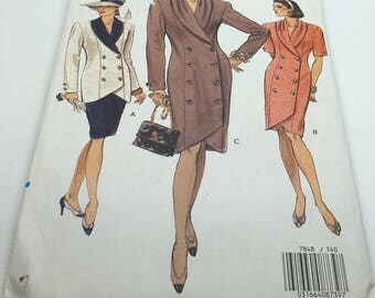 Vogue Sewing Pattern 7848 Misses Dress Top Skirt Loose Fitting Double Breasted Semi Fitted Slightly Tapered Skirt Mid Knee Size 14 16 18