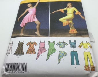 Simplicity 4315  Sewing Pattern  Teen Ballroom Dance Jazz Ballet  ice Skating Gymnastics Outfit Dress Top Size 7 8 10 12 14 16 Uncut New FF