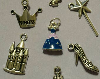 7 pc Cinderella Inspired Charm Lot Set Collection Tibetan Silver Charms Disney Princess