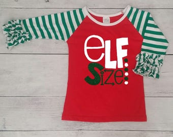 Red body and green with white stripes sleeves Ruffle Raglan