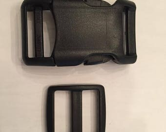 "1"" Black Curved Side Release Buckles and Slides 5 or More"