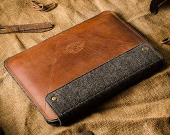 iPad Pro 9.7 leather, case, stand, iPad pro 9.7 inch sleeve, 100% wool felt, apple pencil holder, Crazy Horse leather, brown, smart keyboard