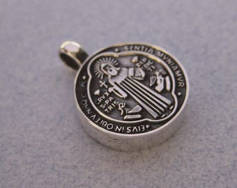 Religious St. Benedict Medium Size Round Oxidized 925 Sterling Silver Taxco Mexico Pendant
