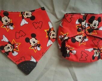 newborn mickey mouse all in one cloth diaper and teething bandana bib set