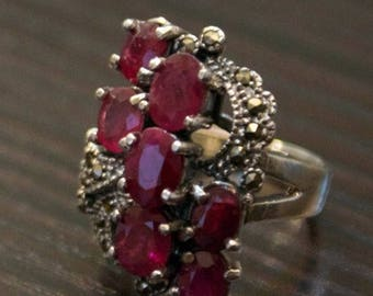 ON SALE Gorgeous Ruby Marcasite Silver Ring