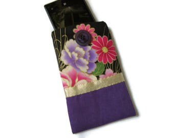 case, cover, cell phone pouch, sunglasses, black gold Pink Purple Japanese fabric