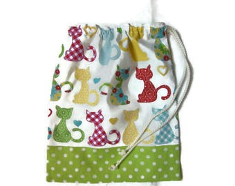 Cover for canteen towel, bag for snack, multicolored cats, pea green