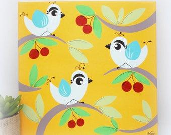Painting for children, bird, cherries, canvas decor room baby, cherry, acrylic bird painting, 30x30cm