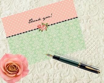 Jane Austen Bridal Shower, Thank You Cards, Bride-to-Be, Bridal Shower, Printable, PDF, Instant Download