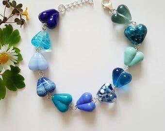 Blue Hearts Bracelet - Sterling Silver Bracelet - Gifts for Her - Lampwork Glass - Blue Bracelet - Bracelet - UK Made - Jewelry - Hearts