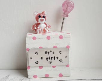 It's a Girl Gift - New Baby Gift - Baby Girl Teddy - Baby Shower Gift - Baby Keepsake - It's a Girl - Lampwork Ornament - Teddy Figurine