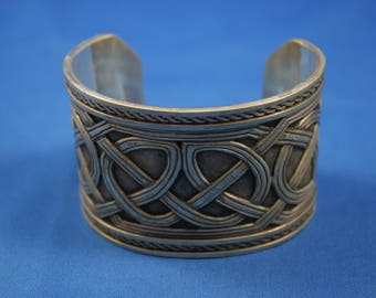 Awesome Antique Sterling Silver Norse Viking Celtic Man's Cuff Bracelet