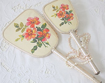 Vintage Vanity Set in Box, Hand Mirror and Brush, Rose Decor, Made in England