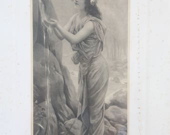 Lovely Antique French Engraving Under Glass, Wooden Frame, 'La Source'