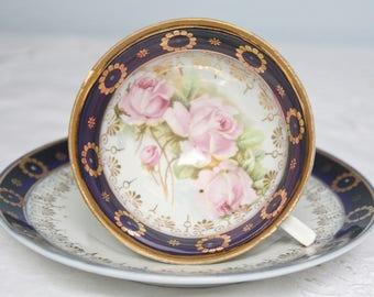 Lovely Antique Cup and Saucer, Soft Pink Rose Decor, Cobalt Blue Rims