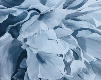 """Grayscale Peony Painted In Acrylic """"18X18"""" Gallery Wrapped Canvas  