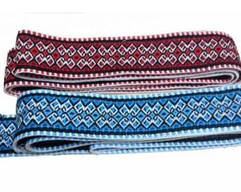 Ukrainian Krayka, Traditional Embroidered Belt, Red, Blue, 150cm