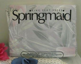 Springmaid NIP Vintage King Flat Bed Sheet ~~ Luxury Percale King Flat Bed Sheet
