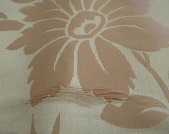 5 Yard Peach Floral Satin Fabric