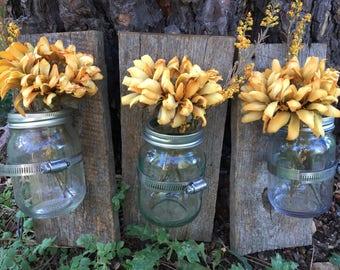 Mason jar  wall decor, hanging mason jar wall vase , rustic barnwood wall sconces, farmhouse decor, set of 3 wall vases; barnwood sconces,
