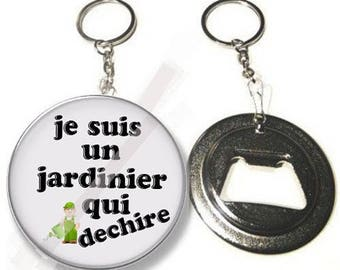Keychain bottle opener / gift I am a gardener who rocks