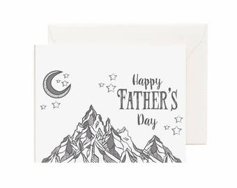 """Night Sky w/ Mountains """" Happy Fathers Day"""" Greeting Card"""
