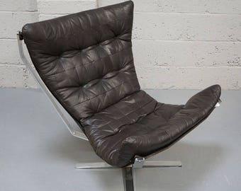 Vintage Danish Leather & Chrome Falcon Style Chair