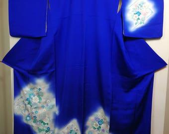 Blue floral tsukesage traditional Japanese kimono