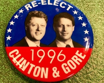 1996 Clinton Gore Political Button