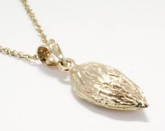 """Almond Jewelry, Almond Necklace,Smaller Size 14kt Gold Almond Necklace on 18"""" chain,California Almond Grower gift for her, Almond Board Gift"""