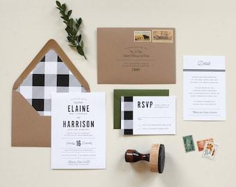Gingham Wedding Invitation |  Rustic Wedding Invitation, Buffalo Check Wedding Invitation, Winter Wedding, Plaid Wedding Invitation