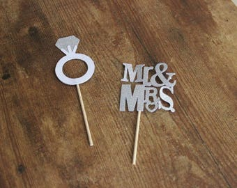 Engagement /Wedding Cupcake toppers/ Set of 12