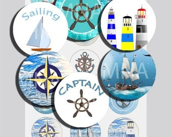 Nautical Maritime bottle cap images, bottle cap IMAGES 1 inch Printable -  1 Inch Circles INSTANT DOWNLOAD