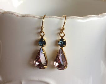 Stunning Vintage Style Earrings - Amethyst & Blue Drops on Gold Filled Hooks