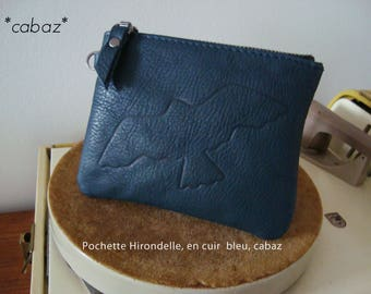Wallet leather, blue, drawing engraved on leather