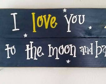 Navy blue I love you to the moon and back