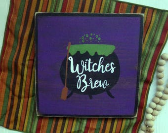 Witches Brew Rustic Wood Sign, Halloween Sign, Halloween Decor, Halloween Kitchen Sign, Witch Decor, Halloween Party Sign, Witches Brew