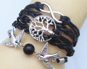 Bird black leather strap