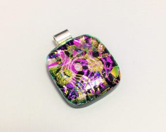 Symphony - beautiful handmade fused dichroic glass pendant