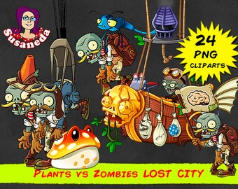 PVZ 2, PLANTS vs ZOMBIES Lost City cliparts, 24 Cliparts Pack, transparent background, instant download