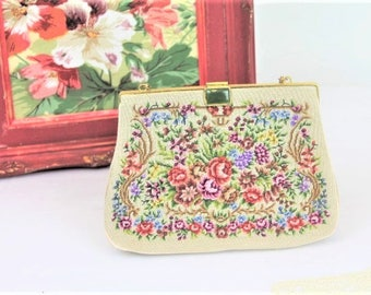 Vintage Petit Point Evening Bag/1950's Tapestry Evening Purse/Vintage Needlepoint Evening Bag (Ref1867P)
