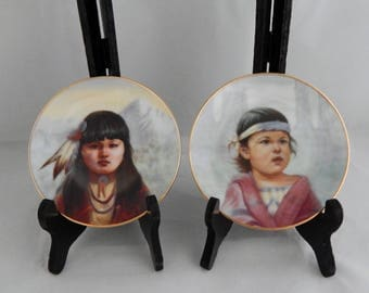"Vintage Artaffects Gregory Perillo Miniature Collector Plates ""Spring Breeze"" and ""Bright Sky"", Native American Plate, Portraits by Perillo"