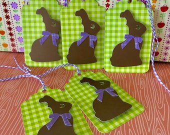 Chocolate Bunny Easter Gift Tag • Favor Tag • Easter Basket Tag • Easter Gift