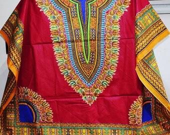 Wine Red Angelina Dashiki Large Shirt,  Unisex Dashiki Shirt,  Afro Shirt - Made to order
