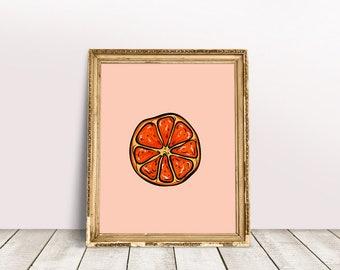 Kitchen Fruit Poster   Orange Fruit Art, Fruit Wall Poster, Orange Fruit Print, Foodie Fruit Gift, Kitchen Orange Decor, Summer Fruit Gift