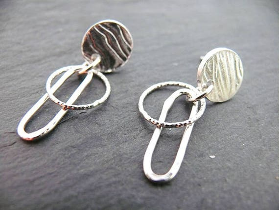 Unique Ripples Earrings ....Gorgeous Sterling Silver Earrings - Handmade in Wales - Gift for Her
